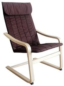 Pihentető fotel, nyírfa/barna anyag,TORSTEN