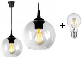 Glimex Orb EKO állítható függőlámpa átlátszó 1x E27 + ajándék LED izzó