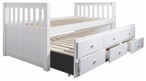 Ágykeret, pótággyal és fiókokkal, 90x200 cm, fehér - CUP