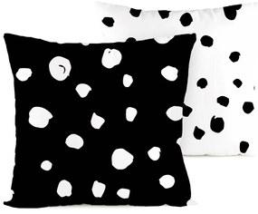 4home  Dalmata pöttyös kispárnahuzat fekete - fehér 2 db 40 x 40 cm, 40 x 40 cm