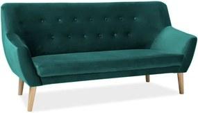 Háromszemélyes kanapé, sötétzöld bársony/bükk, NORDIC 3 VELVET