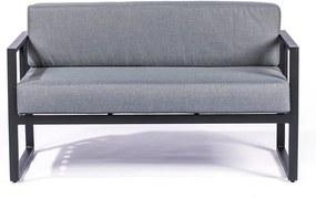 Bellisima grafitszürke kétszemélyes kültéri kanapé fekete kerettel - Le Bonom