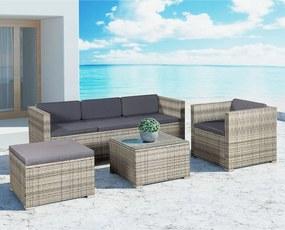 Polirattan kerti bútor Punta Cana, szürke, sötétszürke párnákkal
