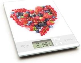Konyhai mérleg szív formájú gyümölcsös mintával, 5 kg-os méréshatárral