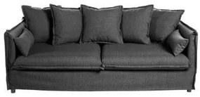3 személyes szövet kanapé, párnákkal, sötétszürke - GOBI