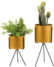 Pedestal 2 db sárga vas virágtartó - PT LIVING