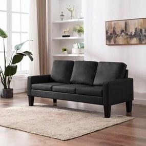 Háromszemélyes fekete műbőr kanapé