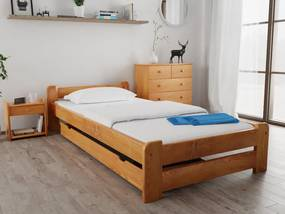 Emily ágy 90x200 cm, égerfa Ágyrács: Deszkás ágyráccsal, Matrac: Deluxe 15 cm matraccal