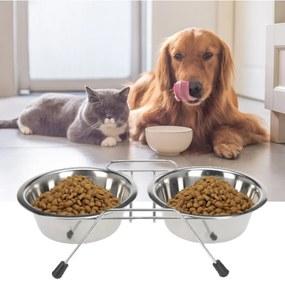 Dupla eledel és ivótál kutyáknak és macskáknak, 34 cm, rozsdamentes acél