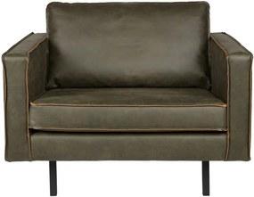 Rodeo sötétzöld fotel újrahasznosított bőrből - BePureHome