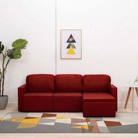 3-személyes bordó műbőr elemes kanapé