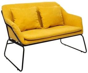 2 személyes csővázas kanapé, párnákkal, napsárga - SAVANAH