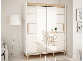 HARALD V4 180 tolóajtós szekrény, 180,5x208x62, fehér/sonoma/bükk