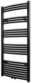 vidaXL Ívelt fekete törölközőszárító radiátor központi fűtéssel 600 x 1424 mm
