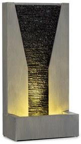 Riverrun, kerti szökőkút, kintre/bentre, 12 W-os szivattyú, LED, 10 m kábel, galvanizált