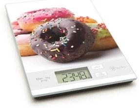 Konyhai mérleg fánkos mintával, 5 kg-os méréshatárral