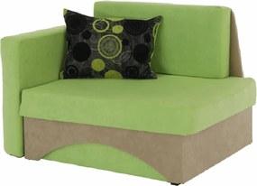 Kanapé fotel ágyfunkcióval, zöld+bézs színű, bal oldali kivitel, KUBOS,
