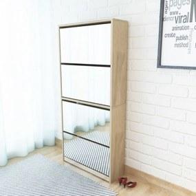 4 szintes tükrös tölgy cipőszekrény 63 x 17 x 134 cm