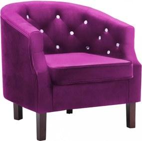 Lila bársony kárpitozású fotel 65 x 64 x 65 cm