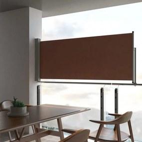 Barna behúzható oldalsó teraszi napellenző 100 x 300 cm