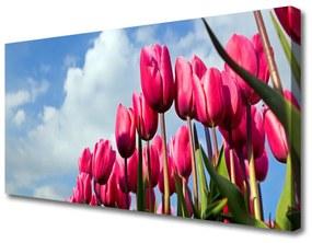Vászonfotó Tulipán Fal 125x50 cm