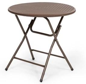 Burgos Round, összecsukható asztal, polirattan, asztal területének átmérője 80 cm Ø 4 személy részére, barna
