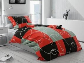Négyzetek piros pamut ágyneműhuzat