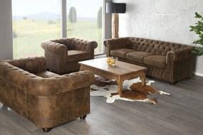 CHESTERFIELD 2 személyes antik barna kanapé