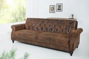 LEONARD-II design bársony kanapé - antik barna - 220cm