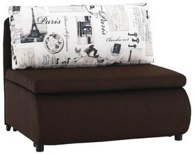 Kinyitható fotel, barna/minta, KENY NEW