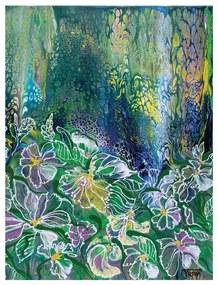 Poszter, absztrakt virágok, keret nélkül, 30x40 cm, zöld - MAI