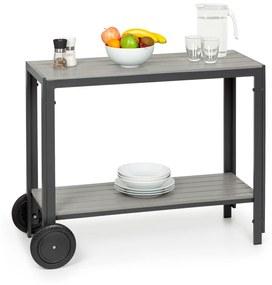 Menorca Roll, felszolgáló asztal, 2 kerék, polywood, alumínium, tik