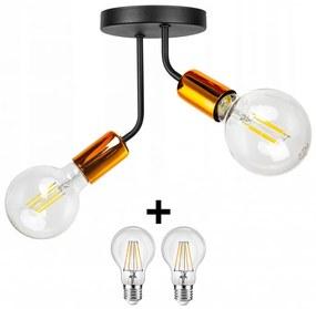 Glimex Louis fix mennyezeti lámpa fekete réz/króm 2x E27 + ajándék LED izzók