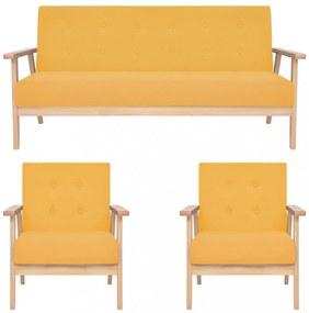 3 részes sárga szövet ülőgarnitúra