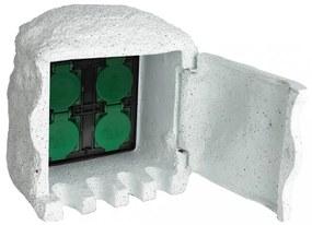Kerti csatlakozó aljzat egység 4 helyes vízmentes műgyanta fehér