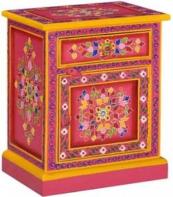Rózsaszín, kézzel festett, tömör mangófa éjjeliszekrény