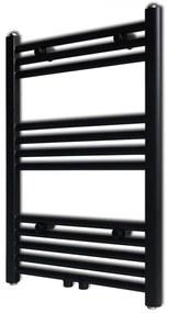 vidaXL Fekete fürdőszobai törölközőszárító radiátor központi fűtéssel egyenes 500 x 764 mm