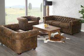 CHESTERFIELD 3 személyes antik barna kanapé