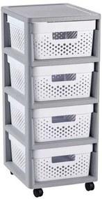 CURVER INFINITY 4x11L fiókos tároló 36x69x30cm DOTS, fehér 04356-Y36