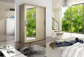 Tolóajtós Ruhás szekrény STAWEN VI tükörrel, 150x200x58, Sonoma