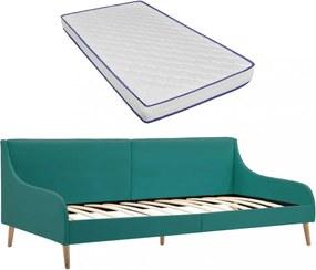 Zöld szövet kanapéágykeret memóriahabos matraccal