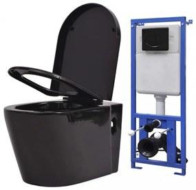 Fekete falra szerelhető kerámia wc rejtett öblítőtartállyal