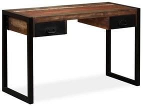vidaXL tömör újrahasznosított fa íróasztal 2 fiókkal 120 x 50 x 76 cm