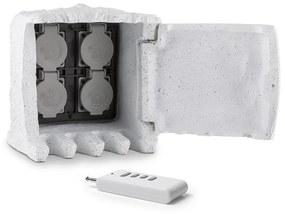 Power Rock Remote, világosszürke, kerti csatlakozó aljzat, 4-es elosztó, 1,5 m, távirányító, szikla
