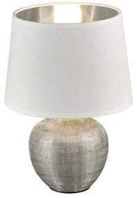 Luxor fehér asztali lámpa kerámiából és szövetből, magasság 26 cm - Trio