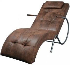 Pihenőszék párnával bőrhatású barna szövetanyagból