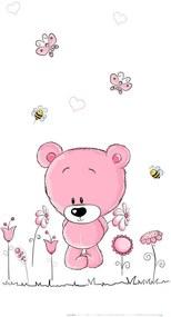 Best4Baby Pink maci virágokkal dekor babafüggöny