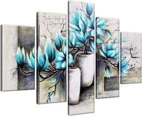 Órás falikép Kék magnóliák vázákban 150x105cm ZP3907A_5H