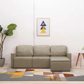 3-személyes kávészínű műbőr elemes kanapé