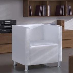 Fehér műbőr kocka alakú karosszék